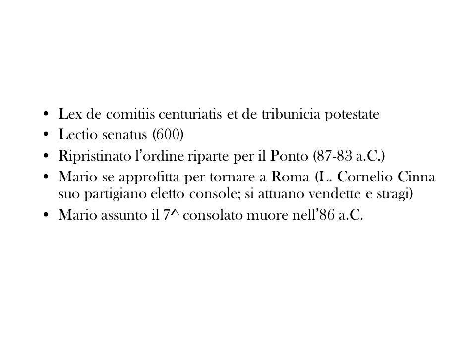 Lex de comitiis centuriatis et de tribunicia potestate Lectio senatus (600) Ripristinato l ordine riparte per il Ponto (87-83 a.C.) Mario se approfitt