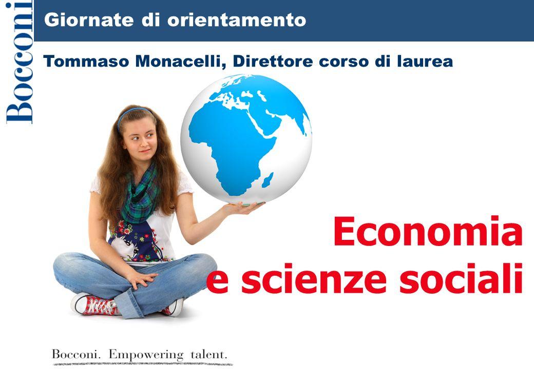 Giornate di orientamento Economia e scienze sociali Tommaso Monacelli, Direttore corso di laurea