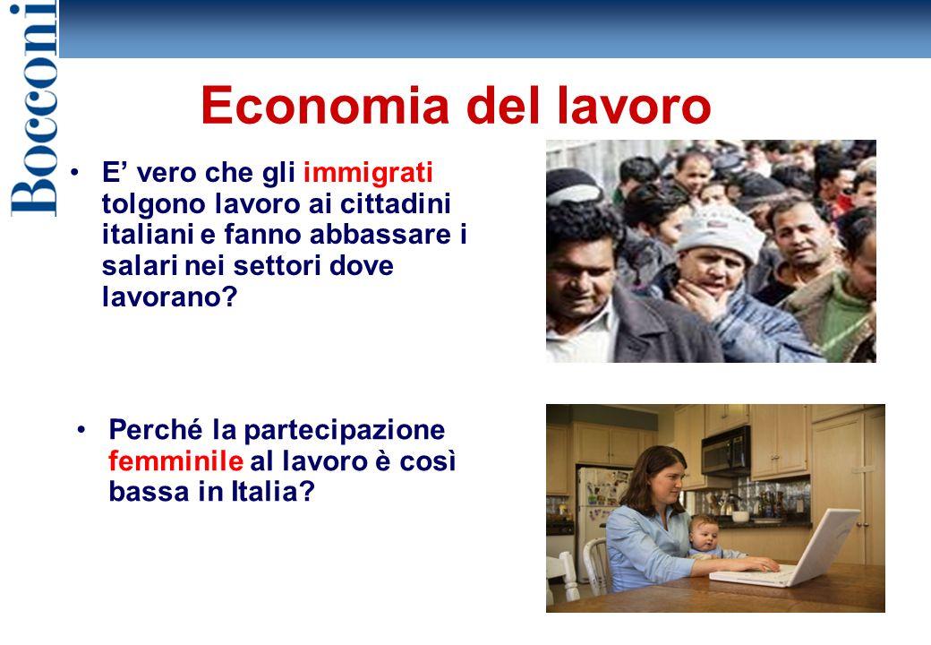 12 Economia del lavoro E vero che gli immigrati tolgono lavoro ai cittadini italiani e fanno abbassare i salari nei settori dove lavorano.