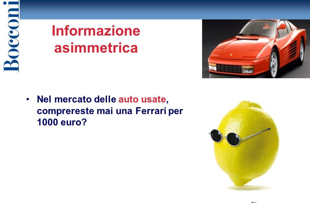 Informazione asimmetrica Nel mercato delle auto usate, comprereste mai una Ferrari per 1000 euro.