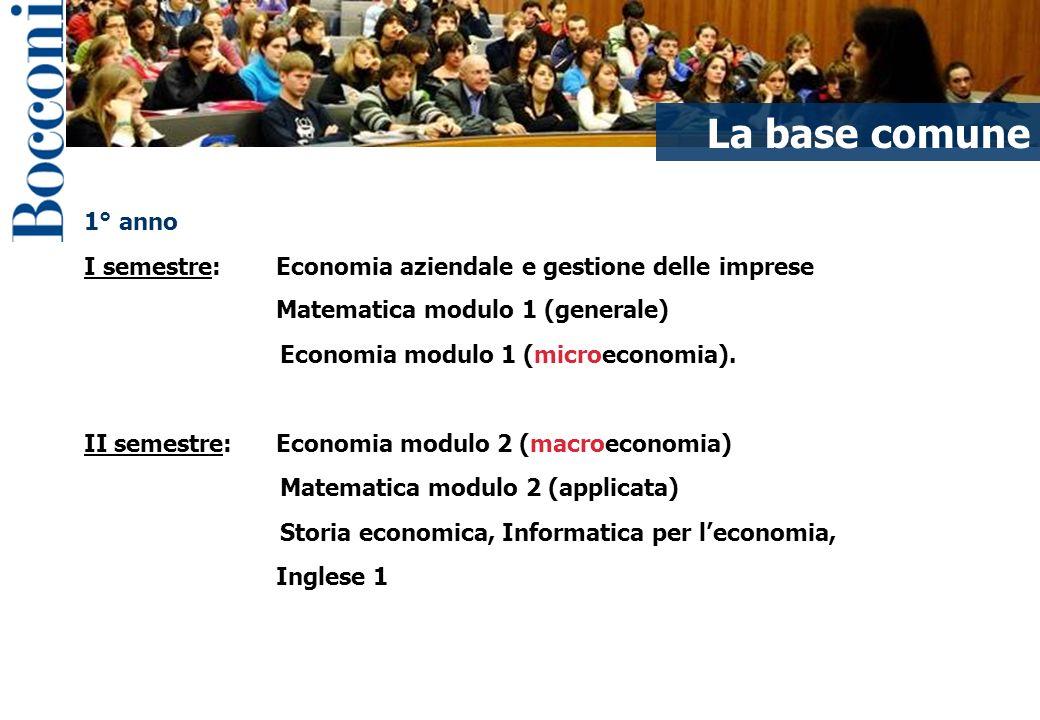1° anno I semestre: Economia aziendale e gestione delle imprese Matematica modulo 1 (generale) Economia modulo 1 (microeconomia).