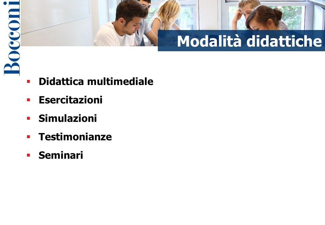 Didattica multimediale Esercitazioni Simulazioni Testimonianze Seminari Modalità didattiche