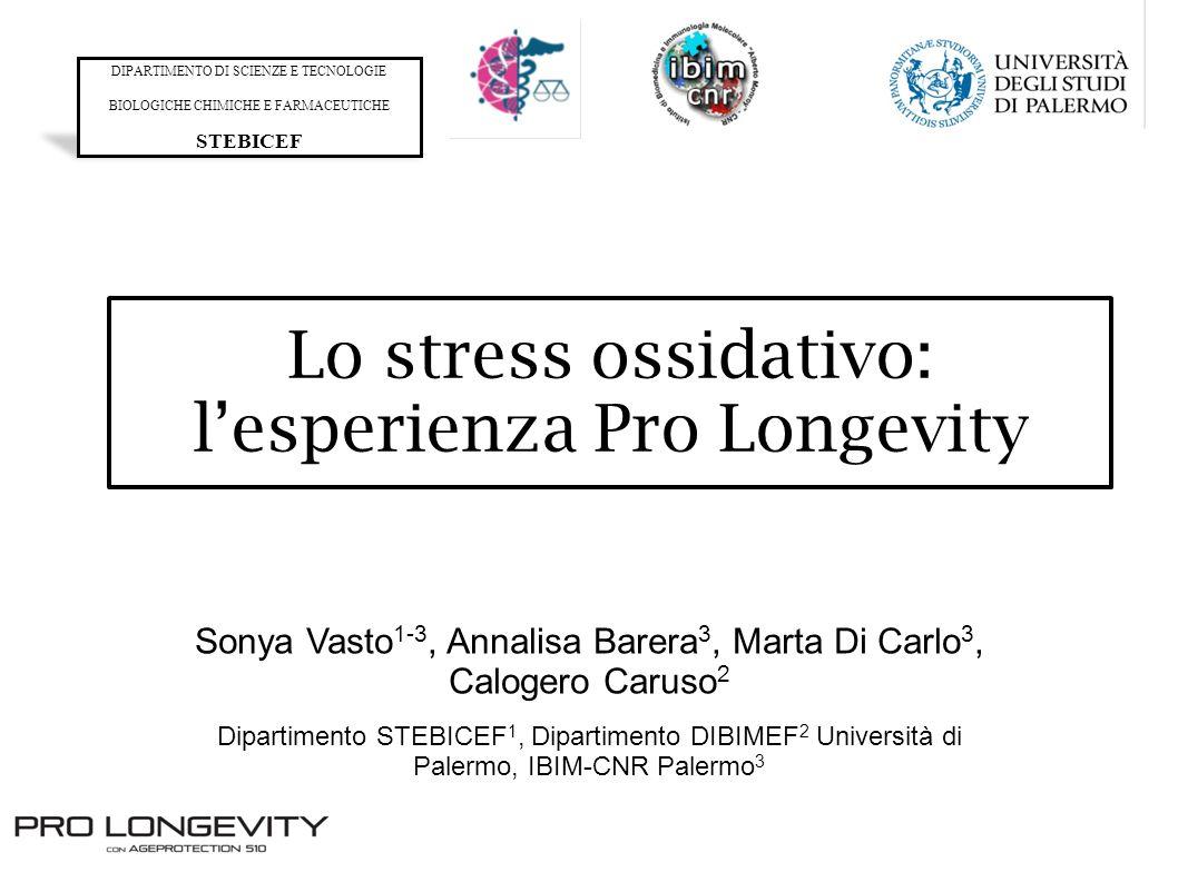 Lo stress ossidativo: lesperienza Pro Longevity Sonya Vasto 1-3, Annalisa Barera 3, Marta Di Carlo 3, Calogero Caruso 2 Dipartimento STEBICEF 1, Dipar