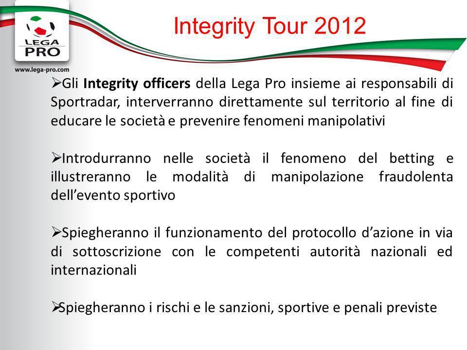 Integrity Tour 2012 Gli Integrity officers della Lega Pro insieme ai responsabili di Sportradar, interverranno direttamente sul territorio al fine di
