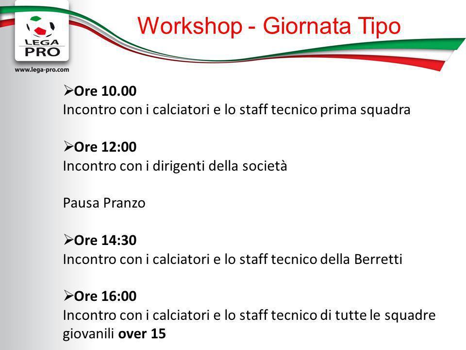 Workshop - Giornata Tipo Ore 10.00 Incontro con i calciatori e lo staff tecnico prima squadra Ore 12:00 Incontro con i dirigenti della società Pausa P