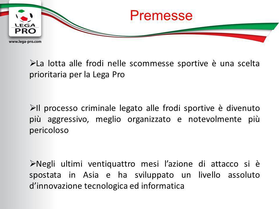 Premesse La lotta alle frodi nelle scommesse sportive è una scelta prioritaria per la Lega Pro Il processo criminale legato alle frodi sportive è dive