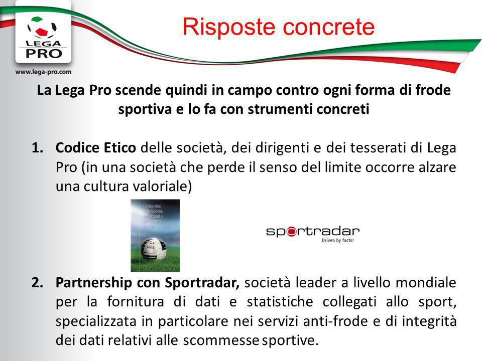 Risposte concrete La Lega Pro scende quindi in campo contro ogni forma di frode sportiva e lo fa con strumenti concreti 1.Codice Etico delle società,