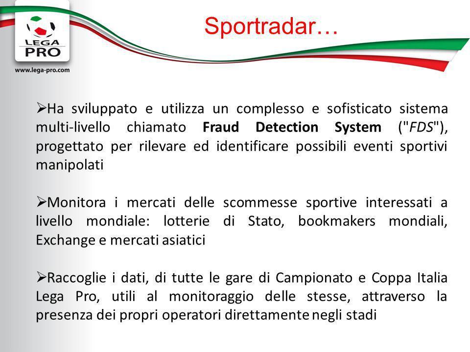 Sportradar… Ha sviluppato e utilizza un complesso e sofisticato sistema multi-livello chiamato Fraud Detection System (