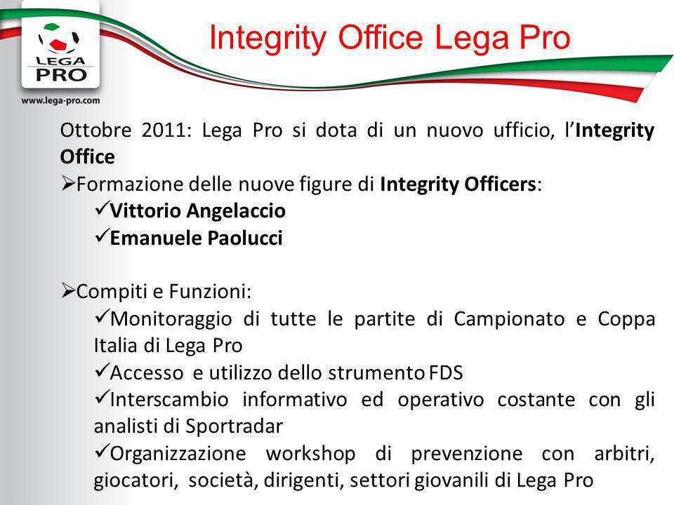 Integrity Office Lega Pro Ottobre 2011: Lega Pro si dota di un nuovo ufficio, lIntegrity Office Formazione delle nuove figure di Integrity Officers: V