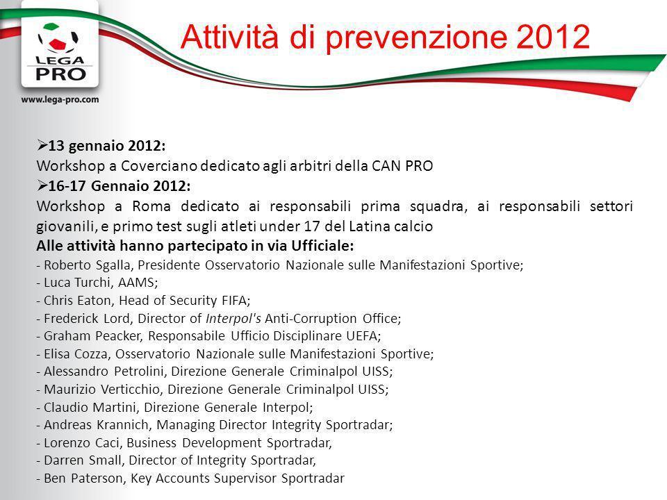 Attività di prevenzione 2012 13 gennaio 2012: Workshop a Coverciano dedicato agli arbitri della CAN PRO 16-17 Gennaio 2012: Workshop a Roma dedicato a