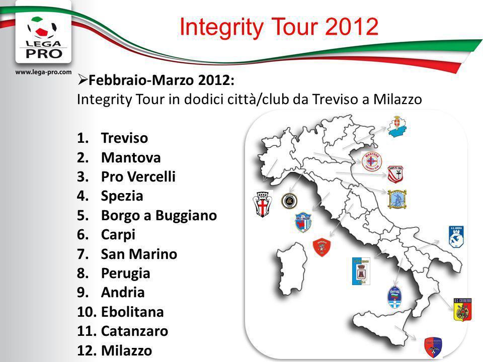 Integrity Tour 2012 Febbraio-Marzo 2012: Integrity Tour in dodici città/club da Treviso a Milazzo 1.Treviso 2.Mantova 3.Pro Vercelli 4.Spezia 5.Borgo