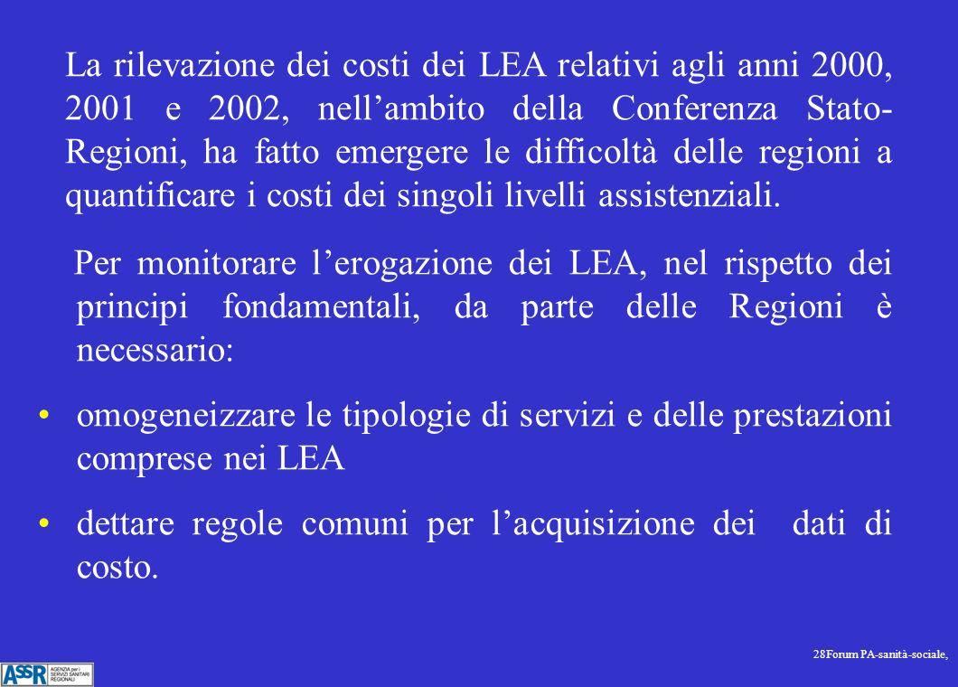 28Forum PA-sanità-sociale, Per monitorare lerogazione dei LEA, nel rispetto dei principi fondamentali, da parte delle Regioni è necessario: omogeneizzare le tipologie di servizi e delle prestazioni comprese nei LEA dettare regole comuni per lacquisizione dei dati di costo.