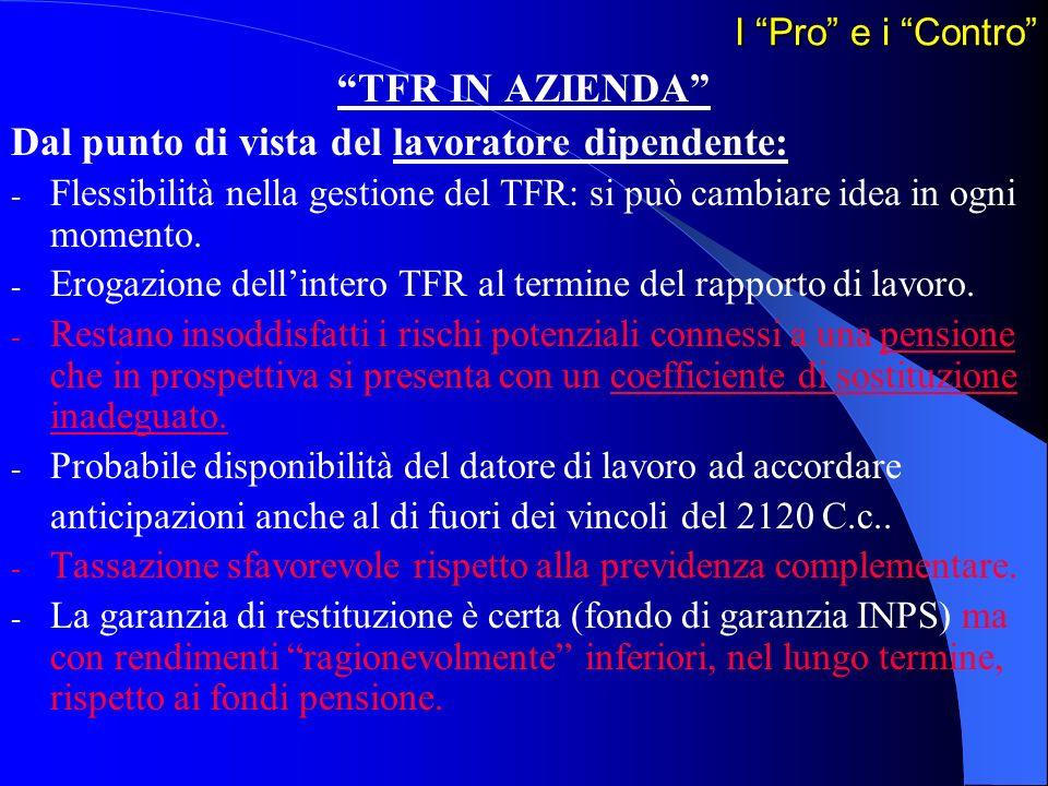 I Pro e i Contro TFR IN AZIENDA Dal punto di vista del lavoratore dipendente: - Flessibilità nella gestione del TFR: si può cambiare idea in ogni mome