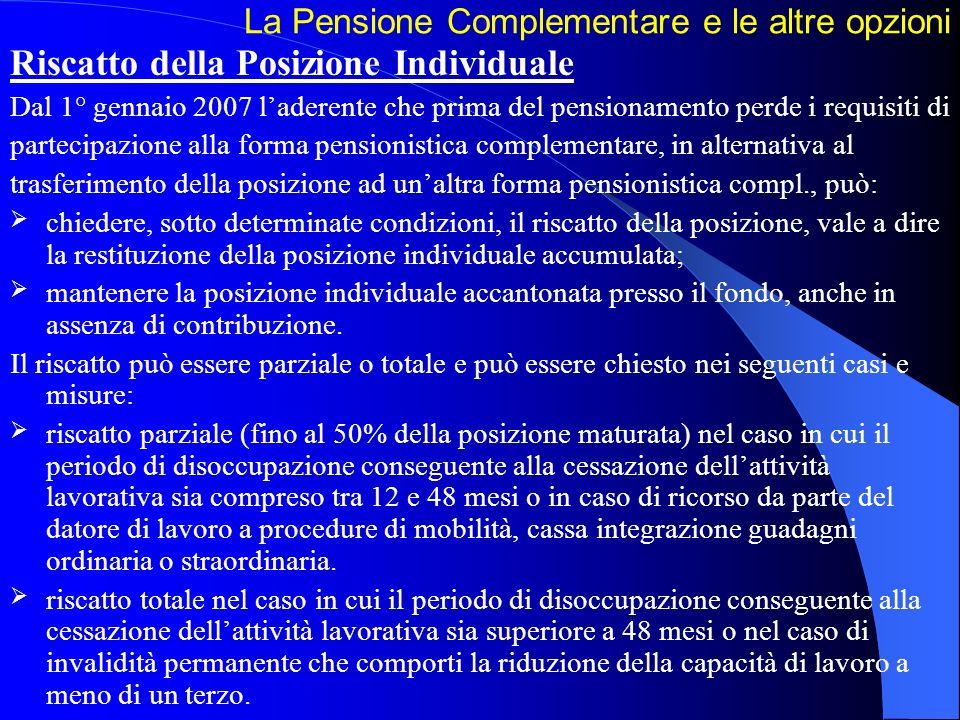 La Pensione Complementare e le altre opzioni Riscatto della Posizione Individuale Dal 1° gennaio 2007 laderente che prima del pensionamento perde i re