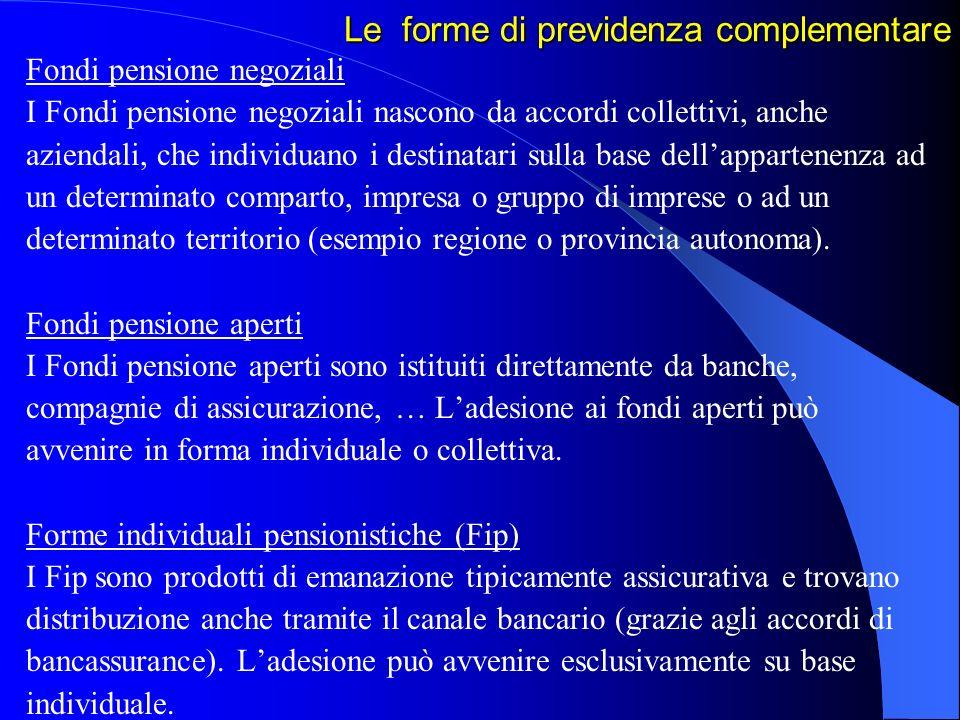 Le forme di previdenza complementare Fondi pensione negoziali I Fondi pensione negoziali nascono da accordi collettivi, anche aziendali, che individua