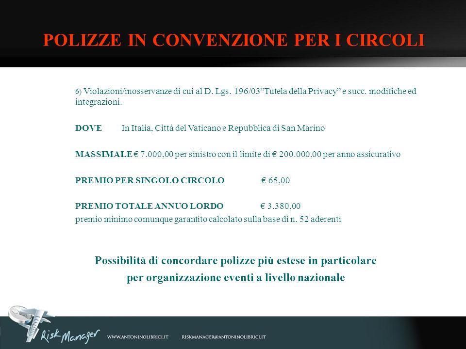 6) Violazioni/inosservanze di cui al D. Lgs. 196/03Tutela della Privacy e succ. modifiche ed integrazioni. DOVEIn Italia, Città del Vaticano e Repubbl