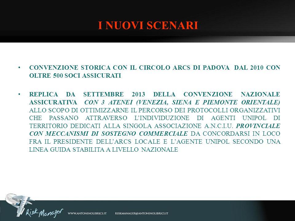 CONVENZIONE STORICA CON IL CIRCOLO ARCS DI PADOVA DAL 2010 CON OLTRE 500 SOCI ASSICURATI REPLICA DA SETTEMBRE 2013 DELLA CONVENZIONE NAZIONALE ASSICUR