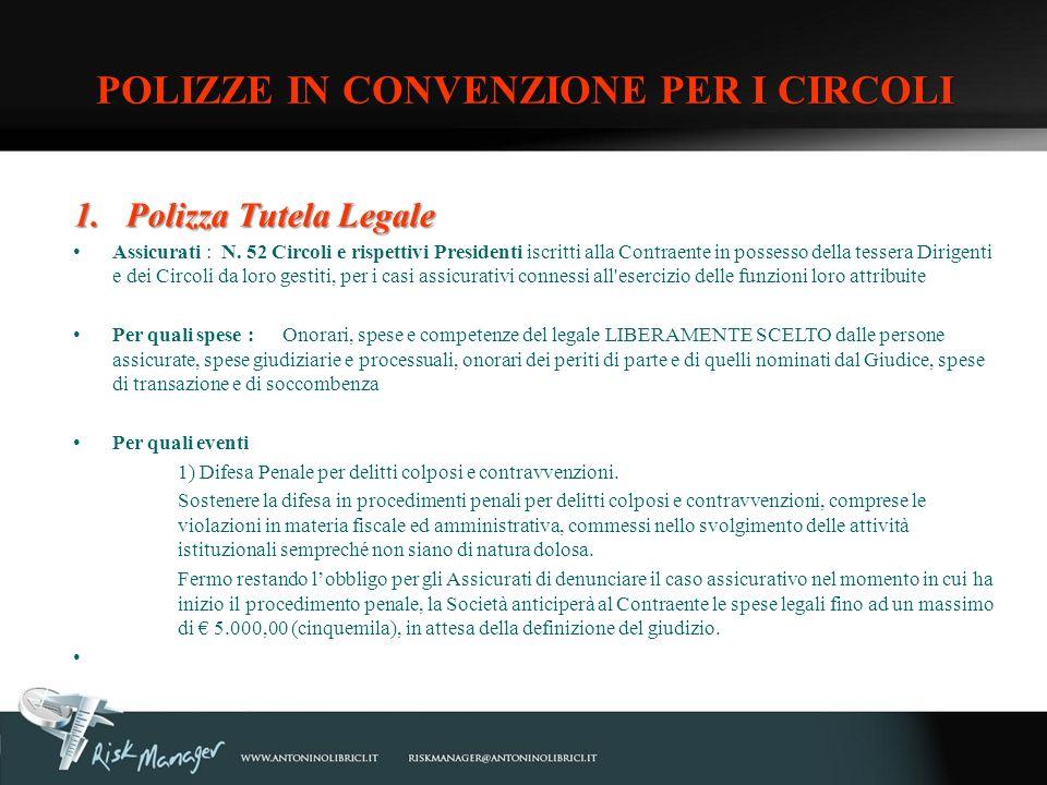 1.Polizza Tutela Legale Assicurati : N. 52 Circoli e rispettivi Presidenti iscritti alla Contraente in possesso della tessera Dirigenti e dei Circoli