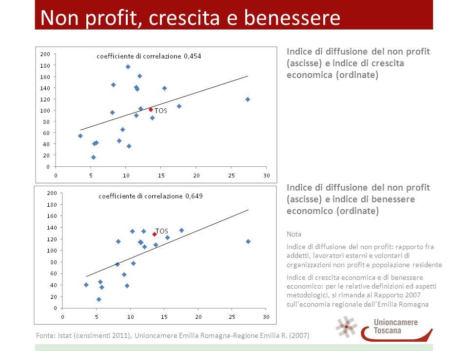 Non profit, crescita e benessere Indice di diffusione del non profit (ascisse) e indice di crescita economica (ordinate) Indice di diffusione del non