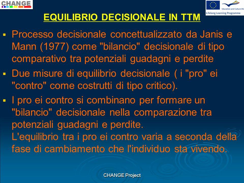 EQUILIBRIO DECISIONALE IN TTM Processo decisionale concettualizzato da Janis e Mann (1977) come bilancio decisionale di tipo comparativo tra potenziali guadagni e perdite Due misure di equilibrio decisionale ( i pro ei contro come costrutti di tipo critico).