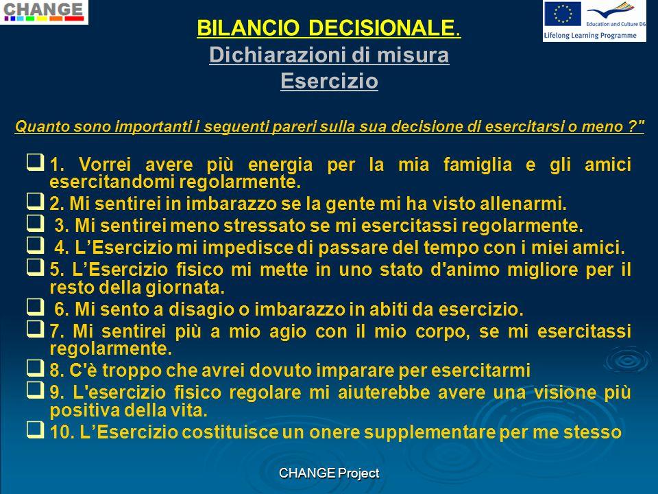 BILANCIO DECISIONALE Esempio di misura: Esercizio PUNTEGGIO: Professionisti : 1, 3, 5, 7, 9 Contro : 2, 4, 6, 8, 10 CHANGE Project