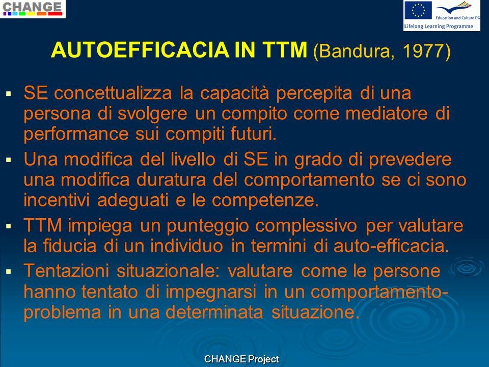 AUTOEFFICACIA IN TTM (Bandura, 1977) SE concettualizza la capacità percepita di una persona di svolgere un compito come mediatore di performance sui compiti futuri.