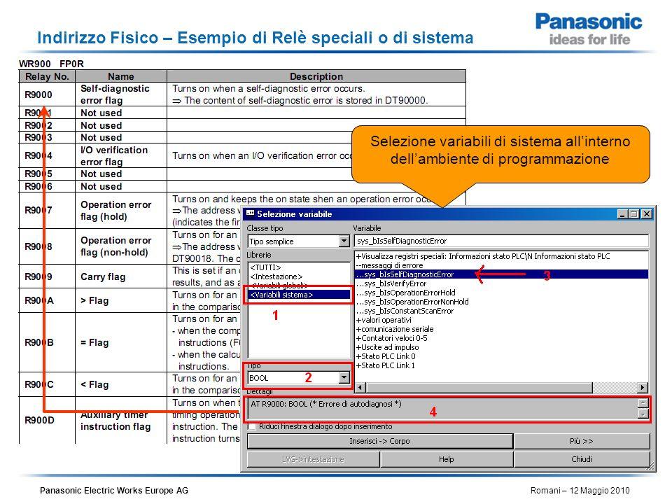 Panasonic Electric Works Europe AG Romani – 12 Maggio 2010 Indirizzo Fisico – Esempio di Relè speciali o di sistema Selezione variabili di sistema all