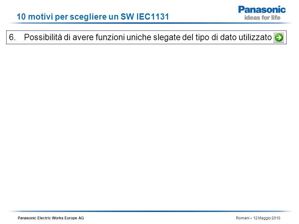 Panasonic Electric Works Europe AG Romani – 12 Maggio 2010 10 motivi per scegliere un SW IEC1131 6.Possibilità di avere funzioni uniche slegate del ti