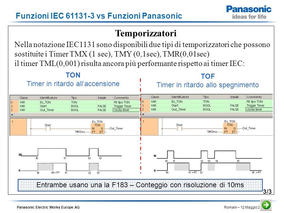 Panasonic Electric Works Europe AG Romani – 12 Maggio 2010 Temporizzatori Nella notazione IEC1131 sono disponibili due tipi di temporizzatori che poss
