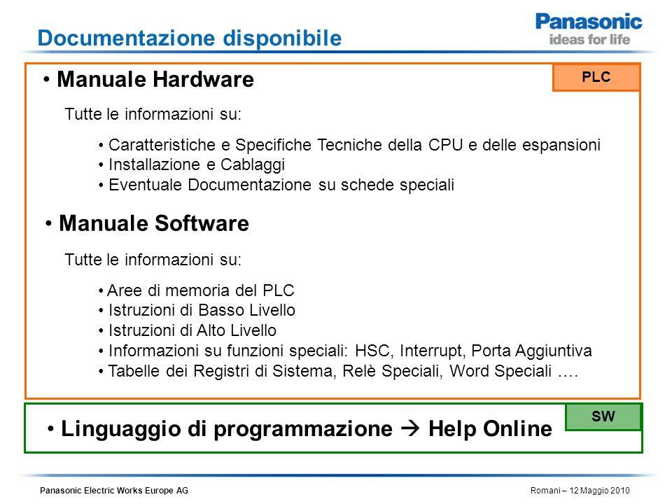 Panasonic Electric Works Europe AG Romani – 12 Maggio 2010 Manuale Hardware Manuale Software Linguaggio di programmazione Help Online Tutte le informa