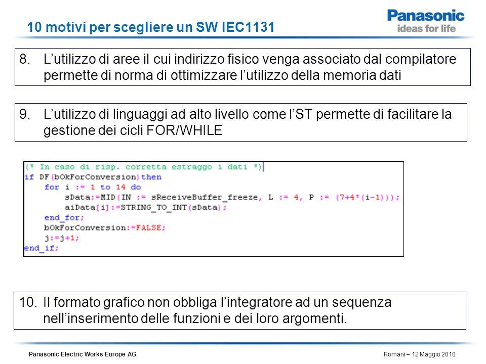 Panasonic Electric Works Europe AG Romani – 12 Maggio 2010 10 motivi per scegliere un SW IEC1131 8.Lutilizzo di aree il cui indirizzo fisico venga ass