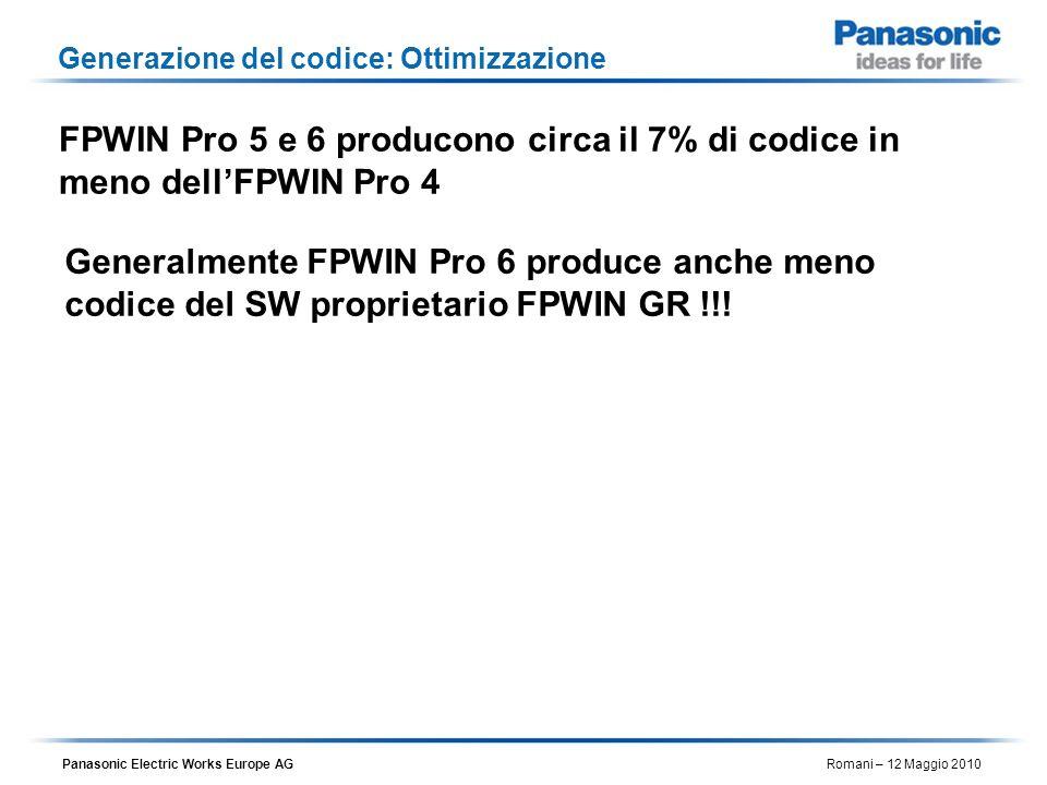 Panasonic Electric Works Europe AG Romani – 12 Maggio 2010 Generazione del codice: Ottimizzazione FPWIN Pro 5 e 6 producono circa il 7% di codice in m