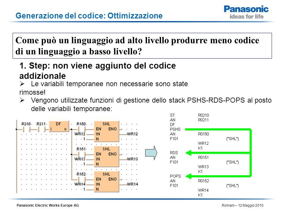 Panasonic Electric Works Europe AG Romani – 12 Maggio 2010 Generazione del codice: Ottimizzazione Vengono utilizzate funzioni di gestione dello stack