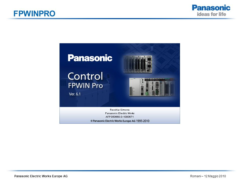 Panasonic Electric Works Europe AG Romani – 12 Maggio 2010 FPWINPRO