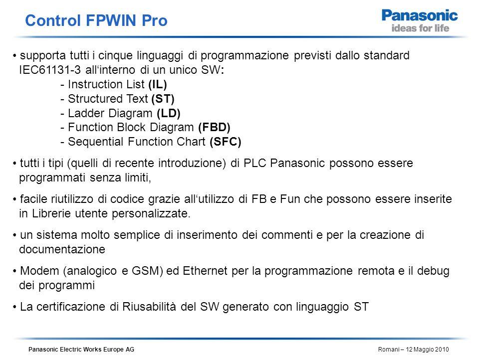 Panasonic Electric Works Europe AG Romani – 12 Maggio 2010 supporta tutti i cinque linguaggi di programmazione previsti dallo standard IEC61131-3 alli
