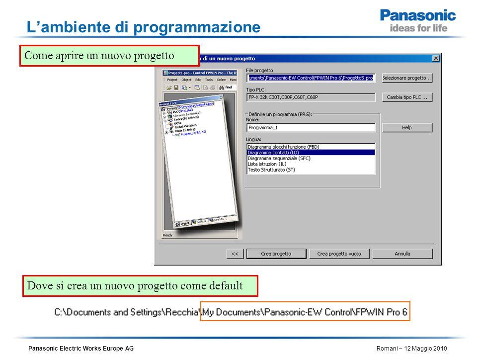 Panasonic Electric Works Europe AG Romani – 12 Maggio 2010 Lambiente di programmazione Come aprire un nuovo progetto Dove si crea un nuovo progetto co