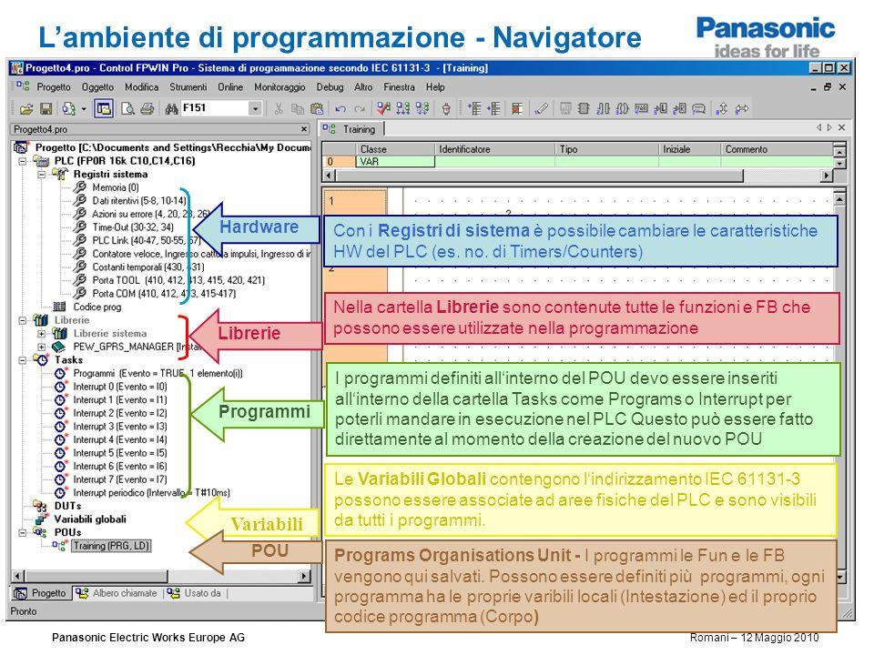 Panasonic Electric Works Europe AG Romani – 12 Maggio 2010 Lambiente di programmazione - Navigatore Con i Registri di sistema è possibile cambiare le