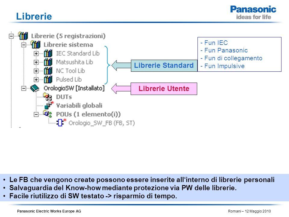 Panasonic Electric Works Europe AG Romani – 12 Maggio 2010 Librerie Le FB che vengono create possono essere inserite allinterno di librerie personali