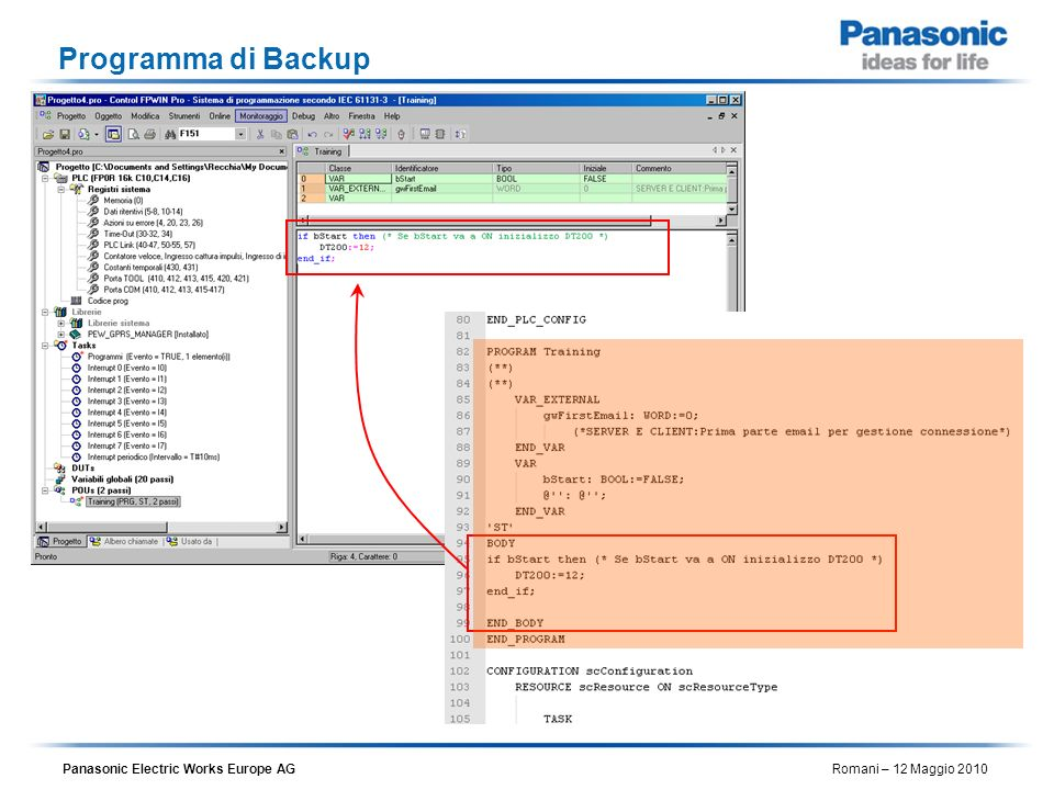 Panasonic Electric Works Europe AG Romani – 12 Maggio 2010 Programma di Backup