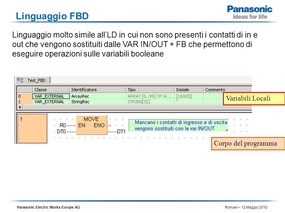 Panasonic Electric Works Europe AG Romani – 12 Maggio 2010 Linguaggio FBD Linguaggio molto simile allLD in cui non sono presenti i contatti di in e ou