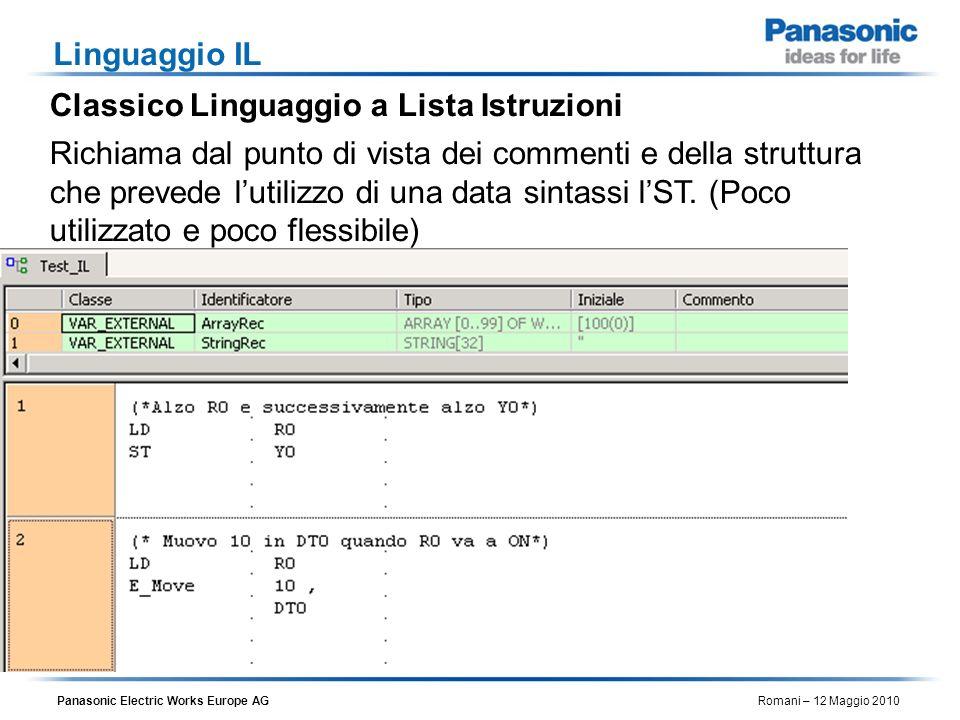 Panasonic Electric Works Europe AG Romani – 12 Maggio 2010 Linguaggio IL Classico Linguaggio a Lista Istruzioni Richiama dal punto di vista dei commen