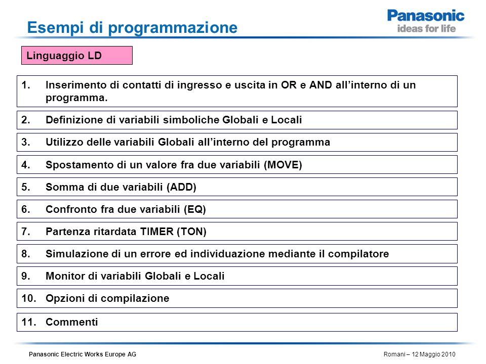 Panasonic Electric Works Europe AG Romani – 12 Maggio 2010 Esempi di programmazione 1.Inserimento di contatti di ingresso e uscita in OR e AND allinte