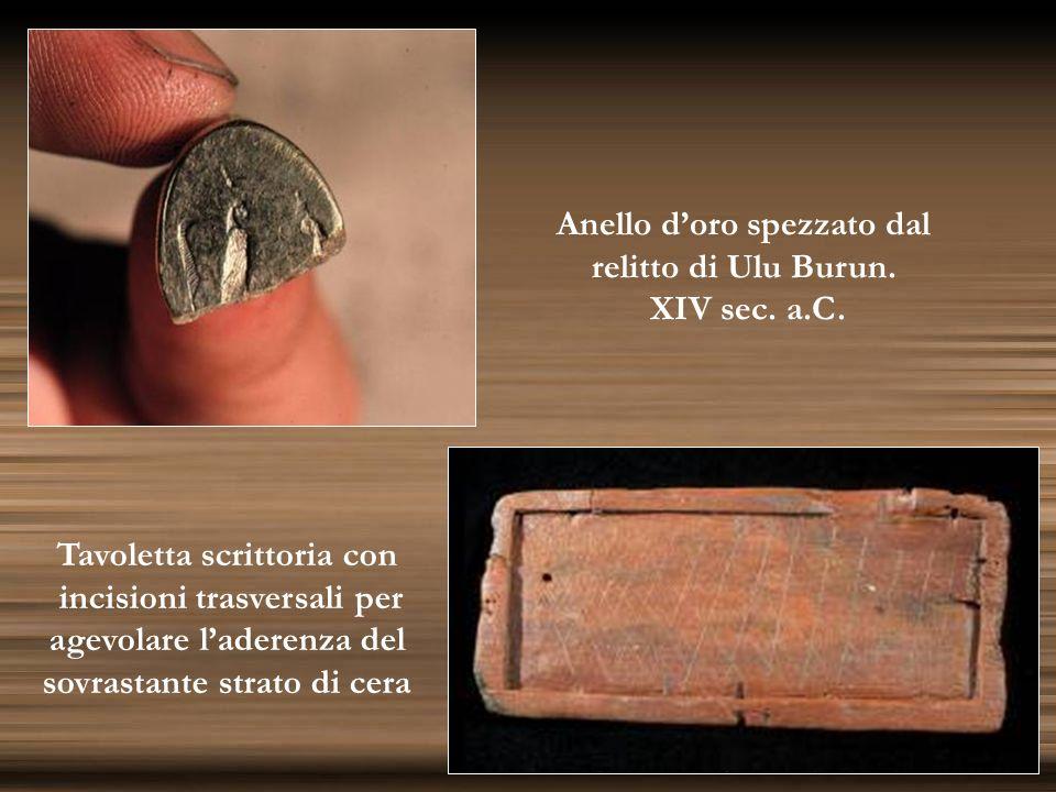 Anello doro spezzato dal relitto di Ulu Burun. XIV sec. a.C. Tavoletta scrittoria con incisioni trasversali per agevolare laderenza del sovrastante st