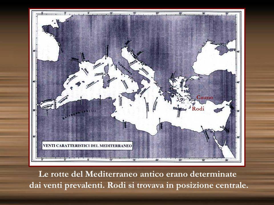 Le rotte del Mediterraneo antico erano determinate dai venti prevalenti. Rodi si trovava in posizione centrale. Rodi Cauno