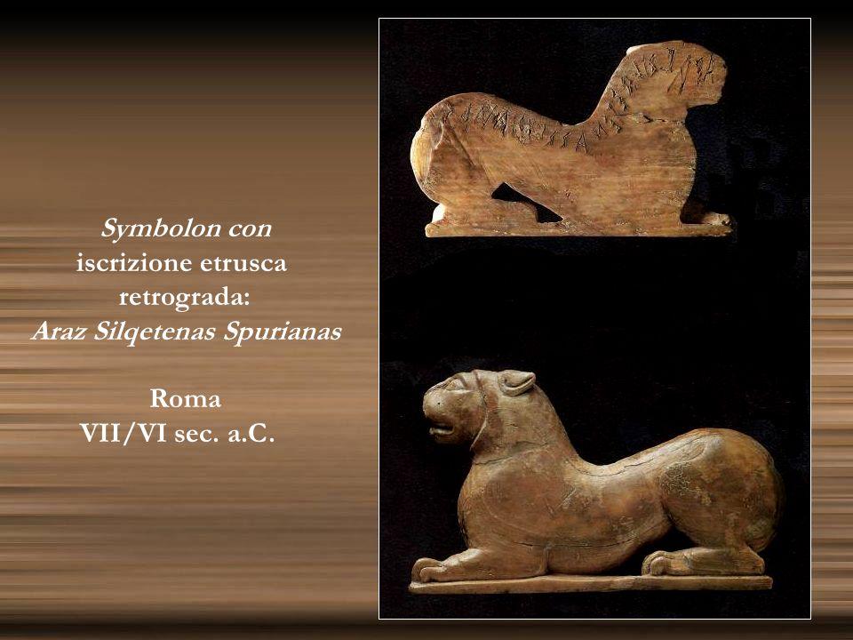 Symbolon con iscrizione etrusca retrograda: Araz Silqetenas Spurianas Roma VII/VI sec. a.C.