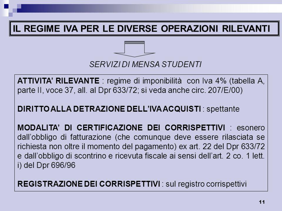 11 IL REGIME IVA PER LE DIVERSE OPERAZIONI RILEVANTI SERVIZI DI MENSA STUDENTI ATTIVITA RILEVANTE : regime di imponibilità con Iva 4% (tabella A, part