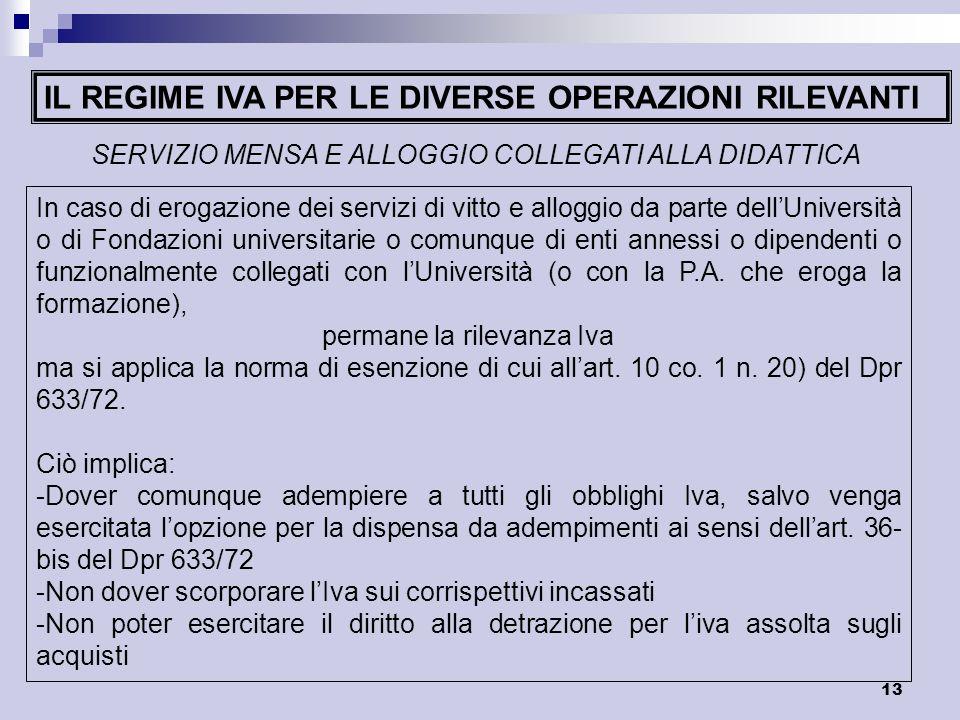 13 IL REGIME IVA PER LE DIVERSE OPERAZIONI RILEVANTI SERVIZIO MENSA E ALLOGGIO COLLEGATI ALLA DIDATTICA In caso di erogazione dei servizi di vitto e a