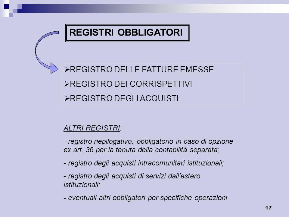17 REGISTRI OBBLIGATORI REGISTRO DELLE FATTURE EMESSE REGISTRO DEI CORRISPETTIVI REGISTRO DEGLI ACQUISTI ALTRI REGISTRI: - registro riepilogativo: obb
