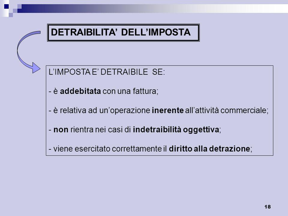 18 DETRAIBILITA DELLIMPOSTA LIMPOSTA E DETRAIBILE SE: - è addebitata con una fattura; - è relativa ad unoperazione inerente allattività commerciale; -
