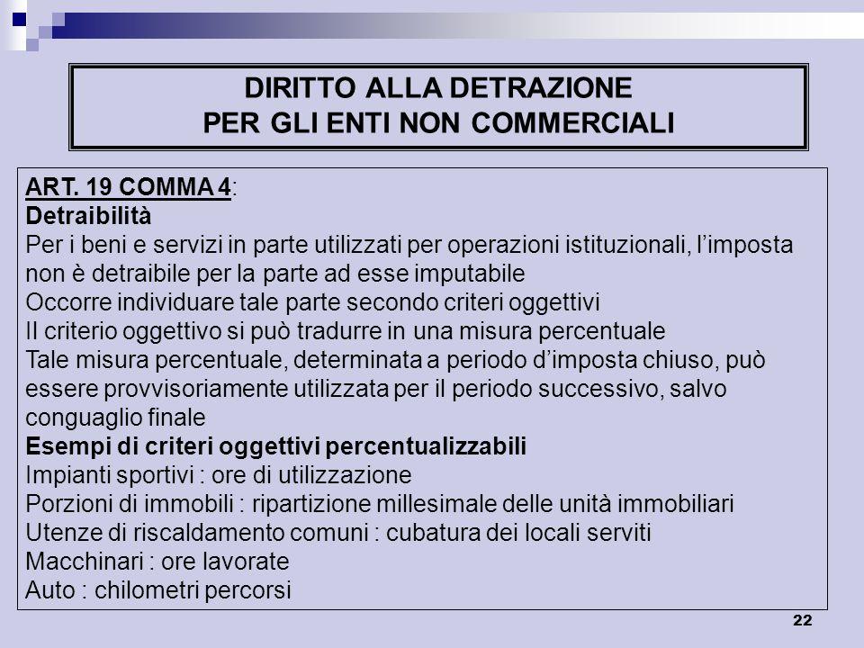 22 DIRITTO ALLA DETRAZIONE PER GLI ENTI NON COMMERCIALI ART. 19 COMMA 4: Detraibilità Per i beni e servizi in parte utilizzati per operazioni istituzi